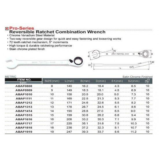 Ключ комбинированный 12мм (с трещоткой реверсивной) TOPTUL ABAF1212