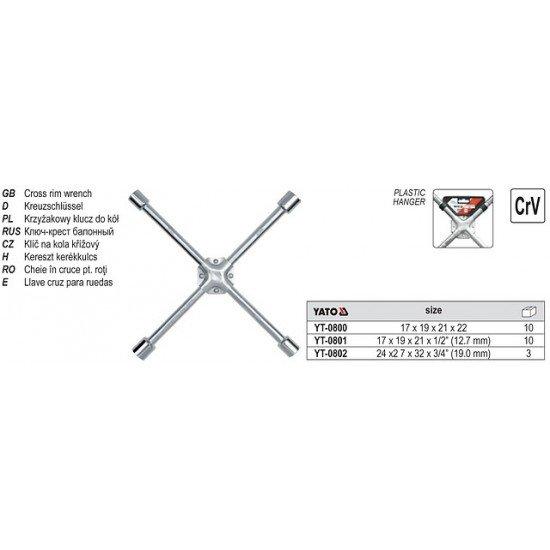 Ключ балонный крестовой усиленный YATO YT-0801 CrV 17*19*21*1/2