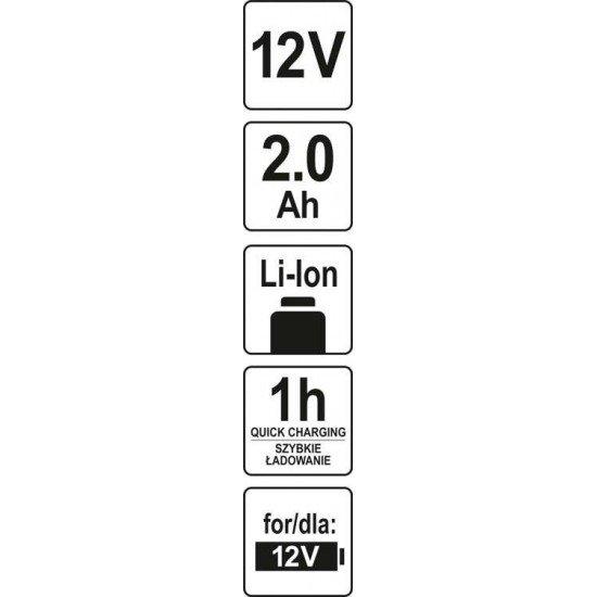 Аккумулятор YATO Li-Ion 12 В 2 Ач 1 ч YT-82909
