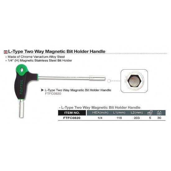 Битодержатель L-образный с магнитом TOPTUL FTFC0820