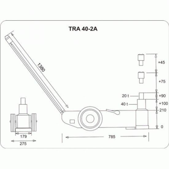 Домкрат подкатной пневмо-гидравлический 40т/20т TRA40-2A Torin