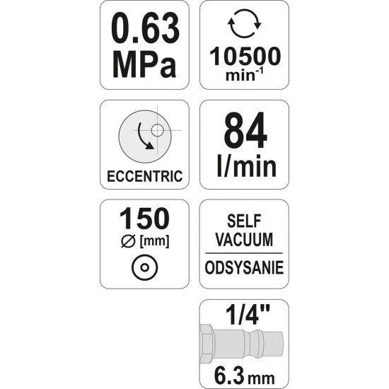 Пневматическая шлифовальная машинка эксцентриковая 150mm Yato YT-09740